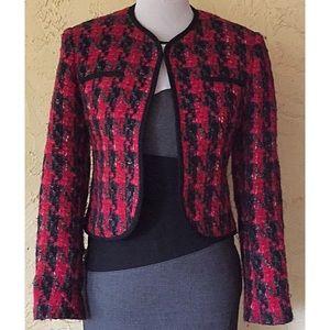 Vintage Jaeger red black Boucle houndstooth jacket